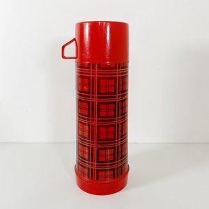 Vintage Aladdin Red Black Plaid 1 Quart Thermos